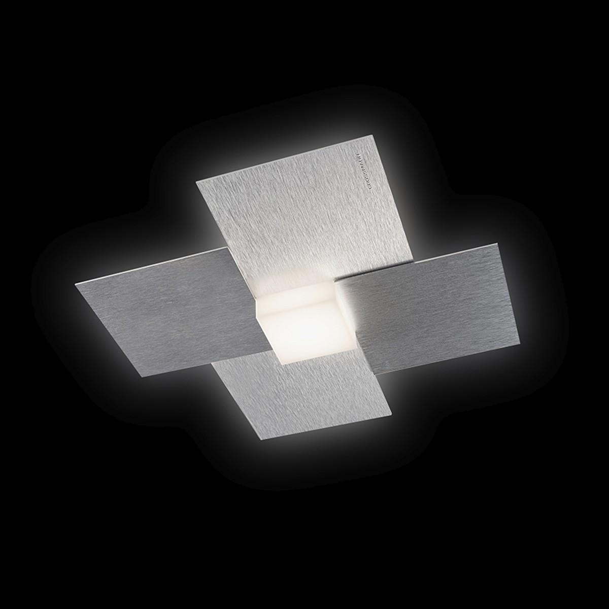 Grossmann Creo LED Wand- / Deckenleuchte, Alu gebürstet, 27,5 x 27,5 cm