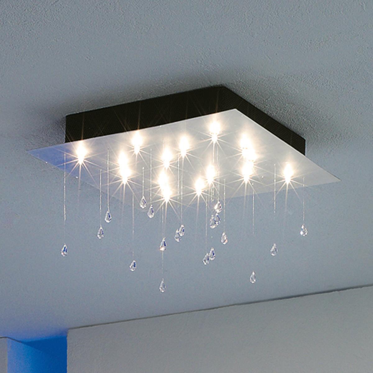 Escale Crystal Rain Deckenleuchte, Blattaluminium, 40 x 40 cm