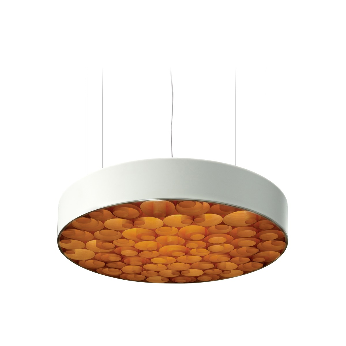 LZF Lamps Spiro Medium LED Pendelleuchte, äußerer Schirm: weiß, innen: orange