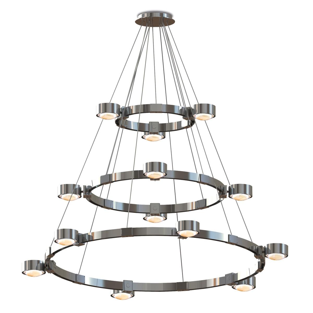 Top Light Puk Maxx Crown XL Pendelleuchte, Chrom, Leuchtenköpfe: Glas satiniert / Linse klar