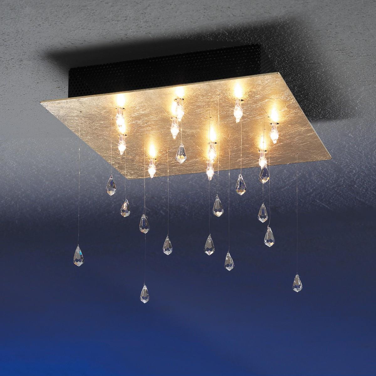 Escale Crystal Rain Deckenleuchte, Blattgold, 40 x 40 cm