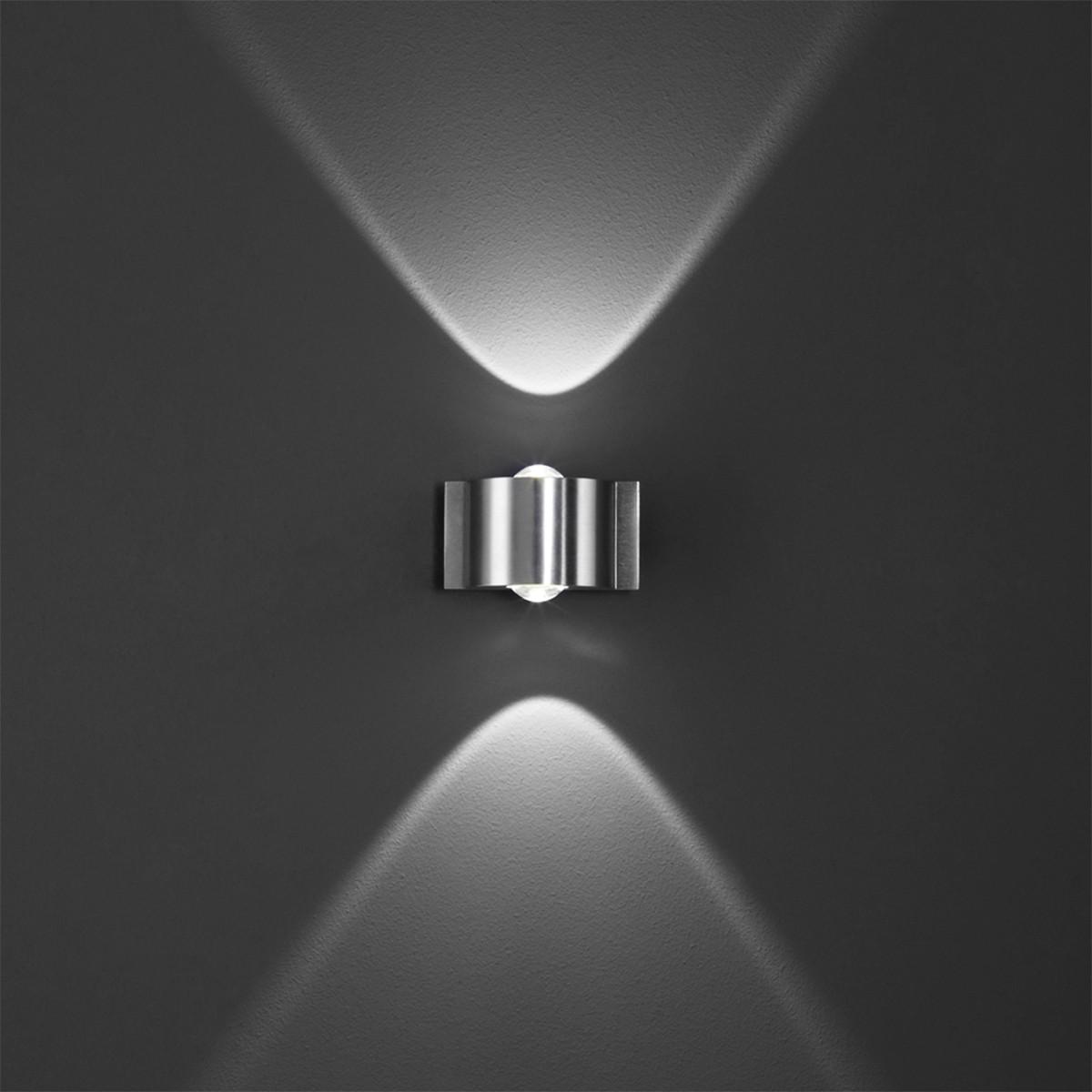 B-Leuchten Stream Wandleuchte, 2-flg., Aluminium