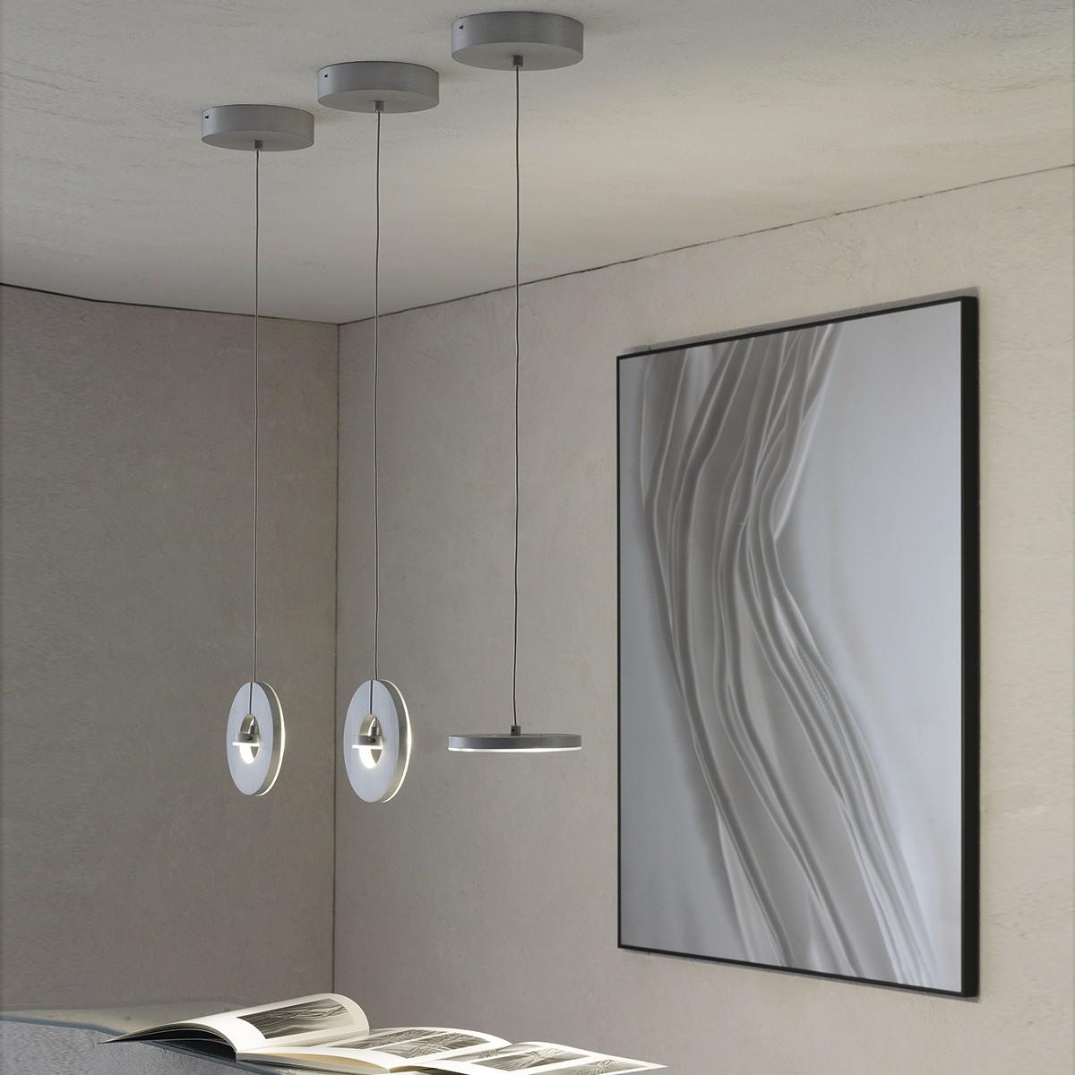 Escale Eos Pendelleuchte LED, Ø: 14 cm, Aluminium geschliffen