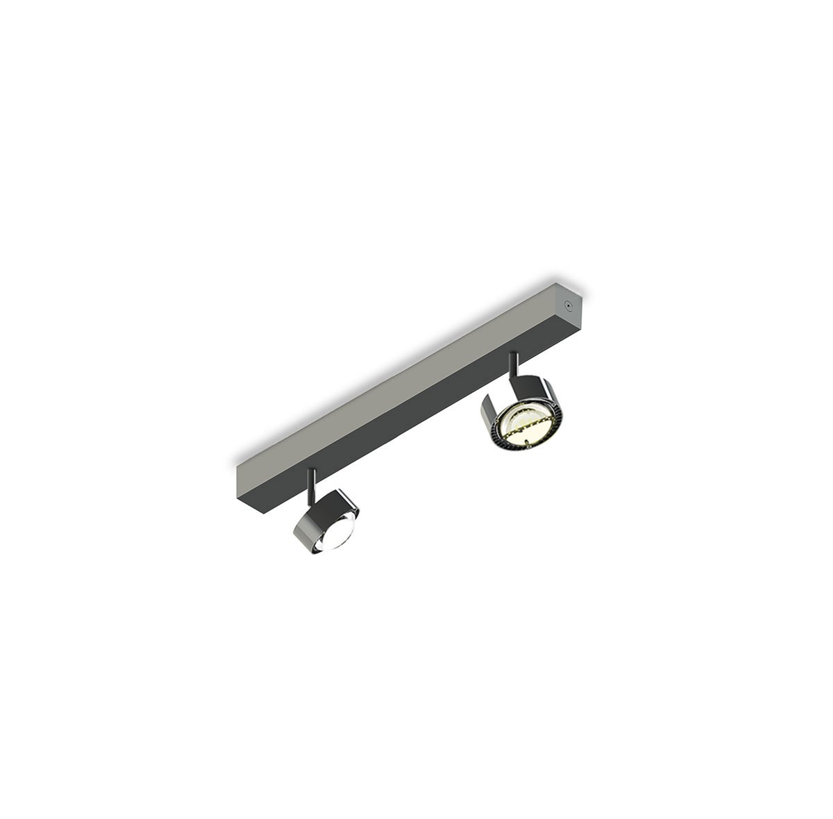 Top Light Puk Choice Turn Deckenleuchte, 35 cm, Chrom, mit Linsen klar