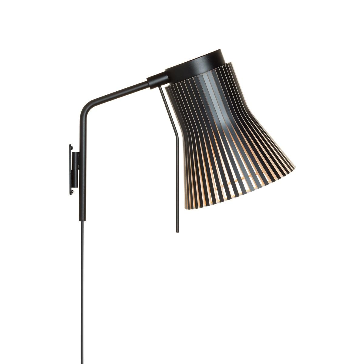 Secto Design Petite 4630 Wandleuchte, schwarz, Schirm: schwarz laminiert