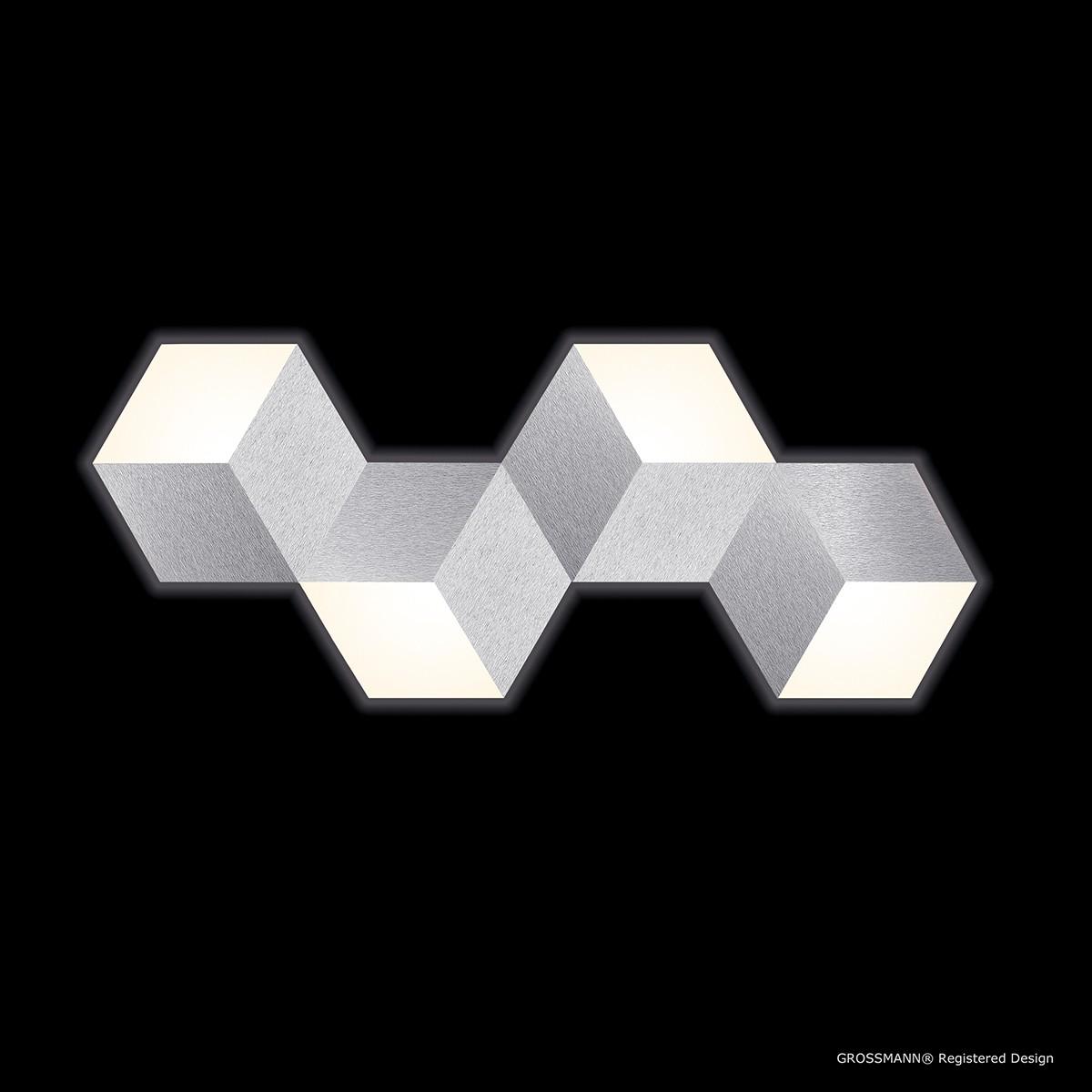 Grossmann Geo LED Wand- / Deckenleuchte, 4-flg., Aluminium gebürstet