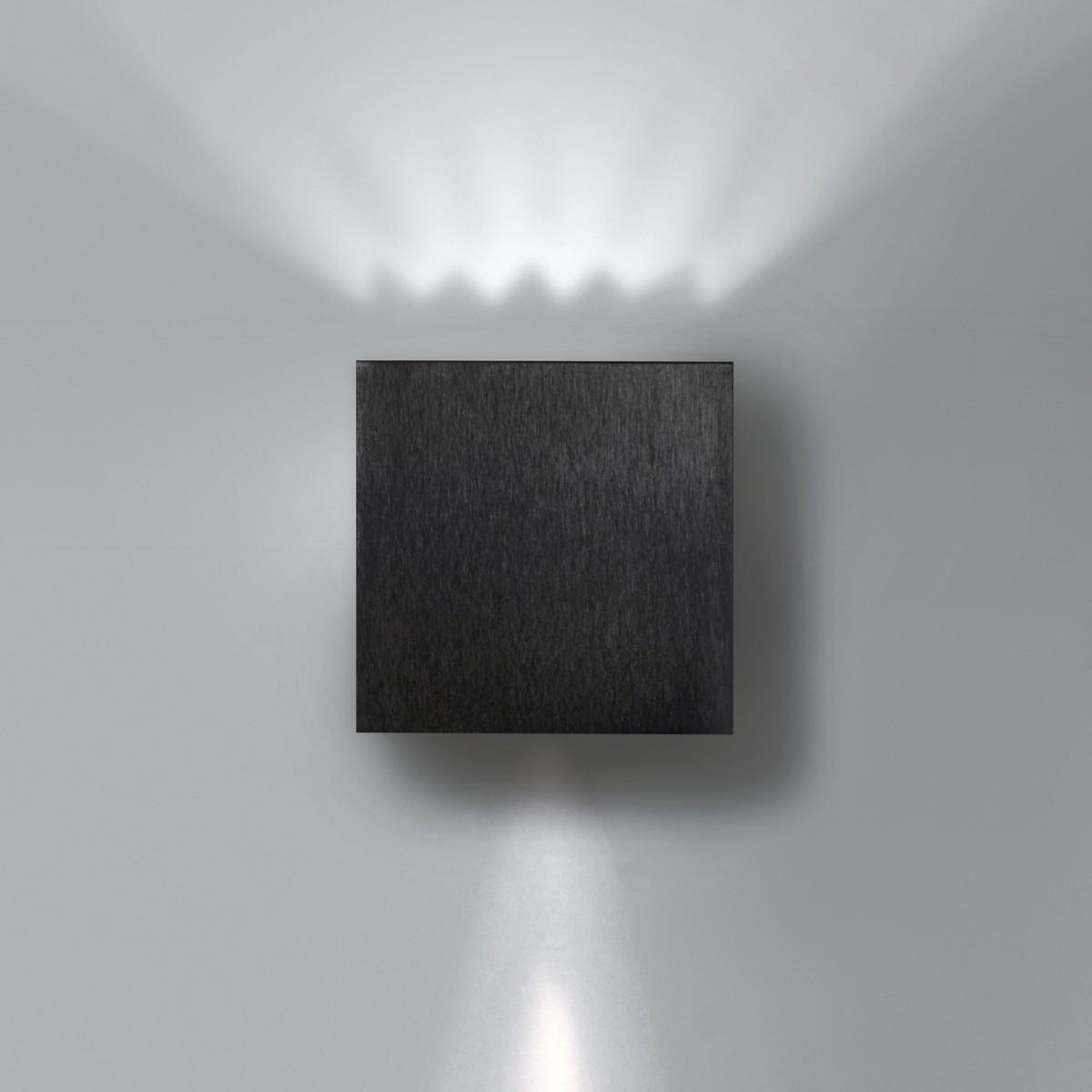 Milan Dau Wandleuchte, 1-flg., schwarz gebürstet