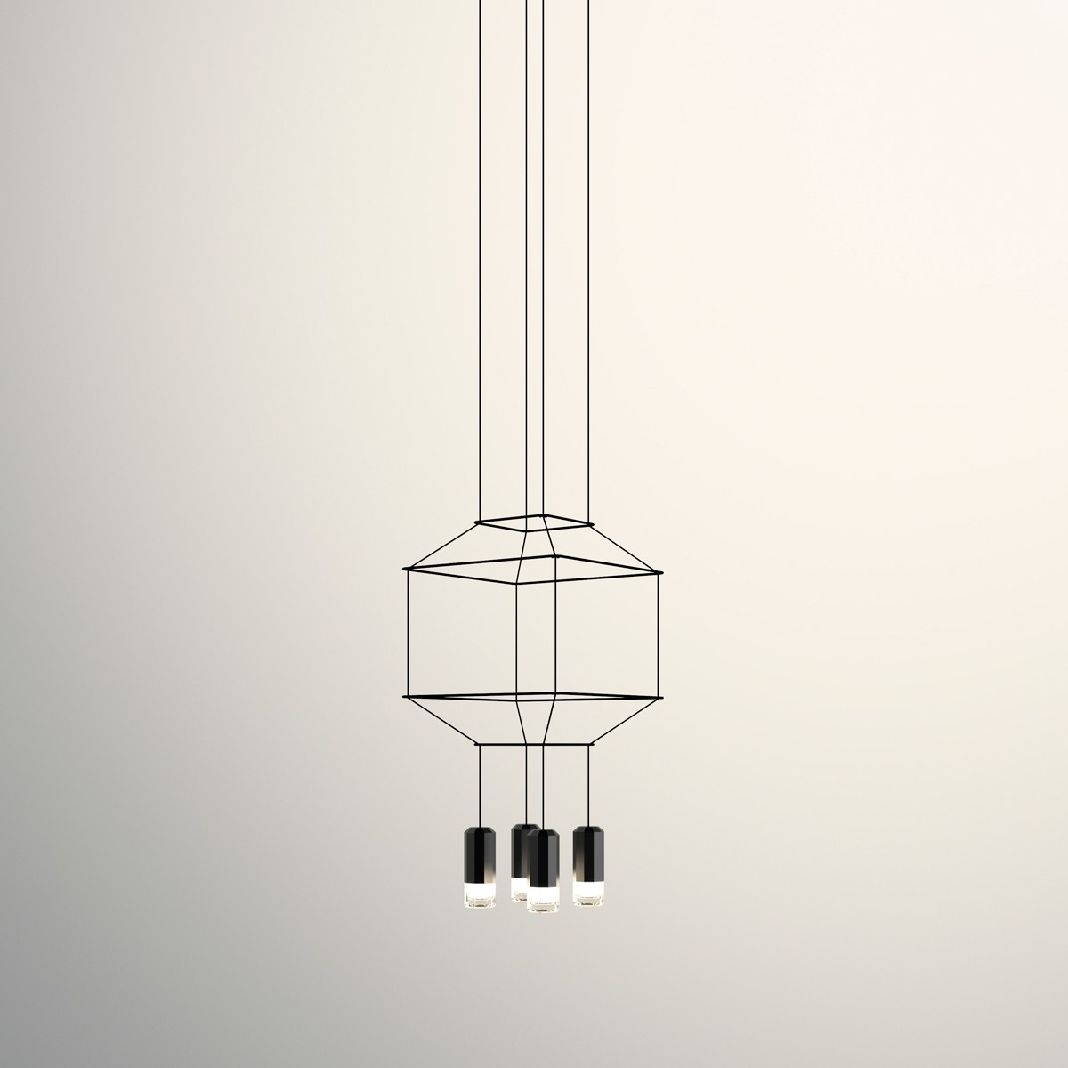 Vibia Wireflow Pendelleuchte, 4-flg., 30 x 30 cm, schwarz