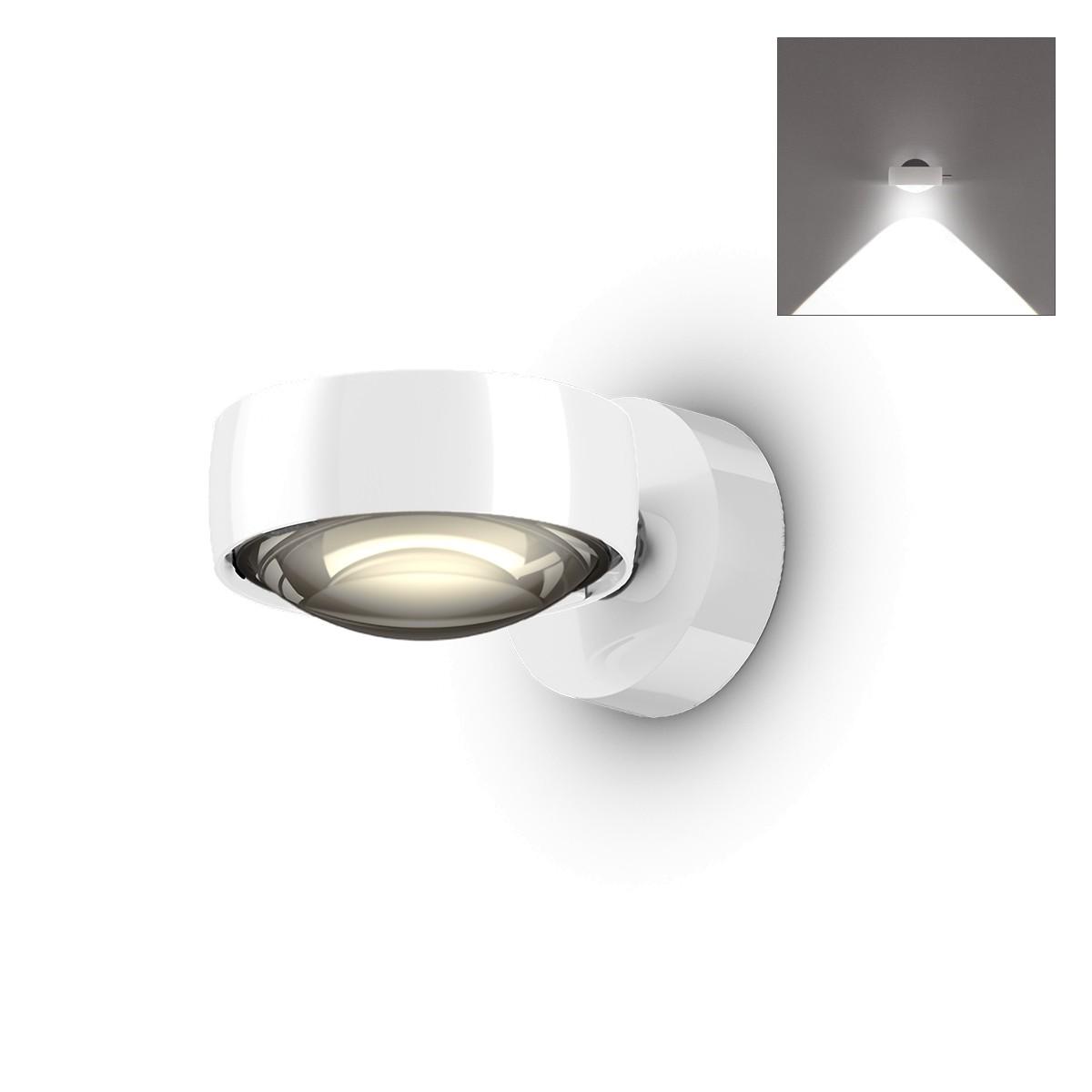 Occhio Sento C LED verticale up Wandleuchte, 2700 K, Chrom / weiß glänzend