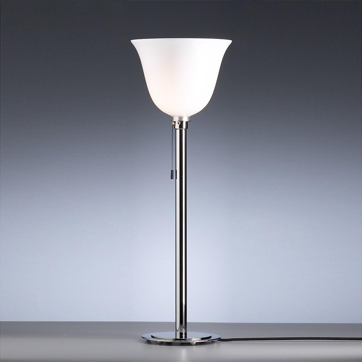 Tecnolumen Art Déco AD 30 Stehleuchte, Gestell: Chrom glänzend / Nickel, Glas: opalüberfangen