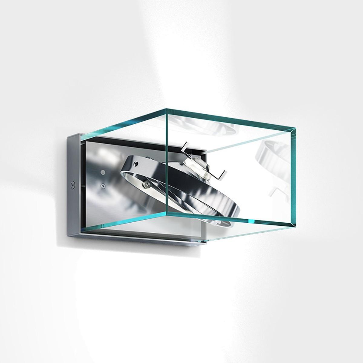 IP44.de Ann AR111 Außenwandleuchte, Edelstahl gebürstet / Glas klar