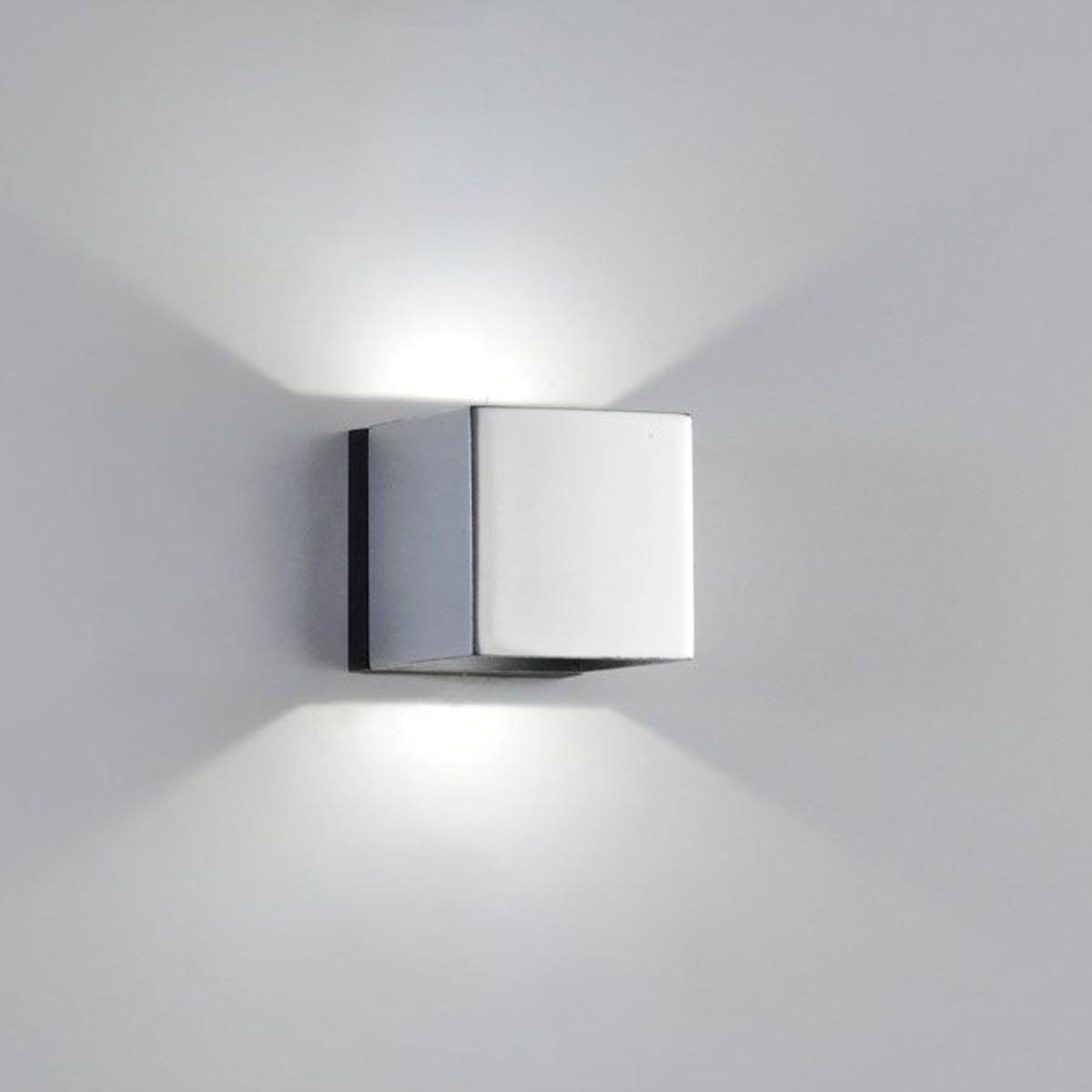 Milan Mini Dau LED Up & Down Wandleuchte, 2-flg., Chrom / schwarz