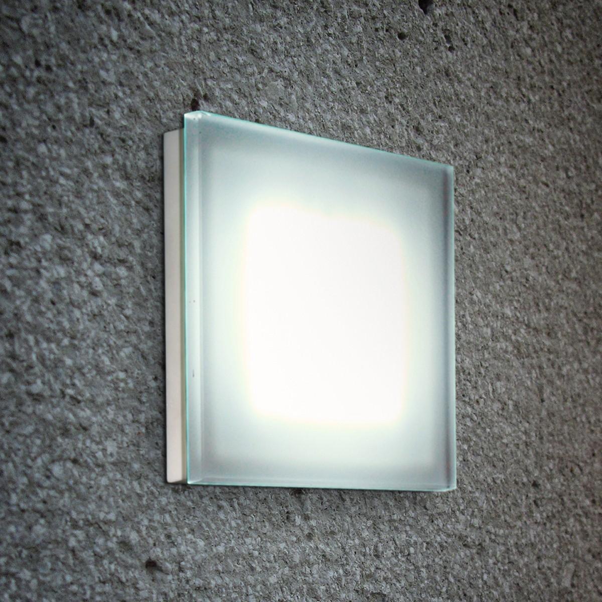 Fontana Arte Sole Wand- / Deckenleuchte, quadratisch, Siebdruckglas