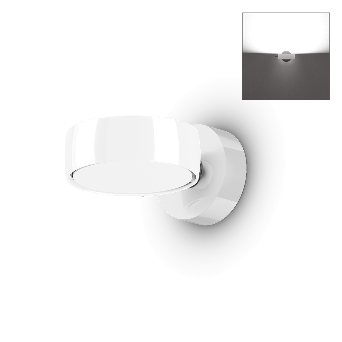 Occhio Sento B LED verticale up Wandleuchte, 18 W / 2700 K, Chrom / weiß glänzend