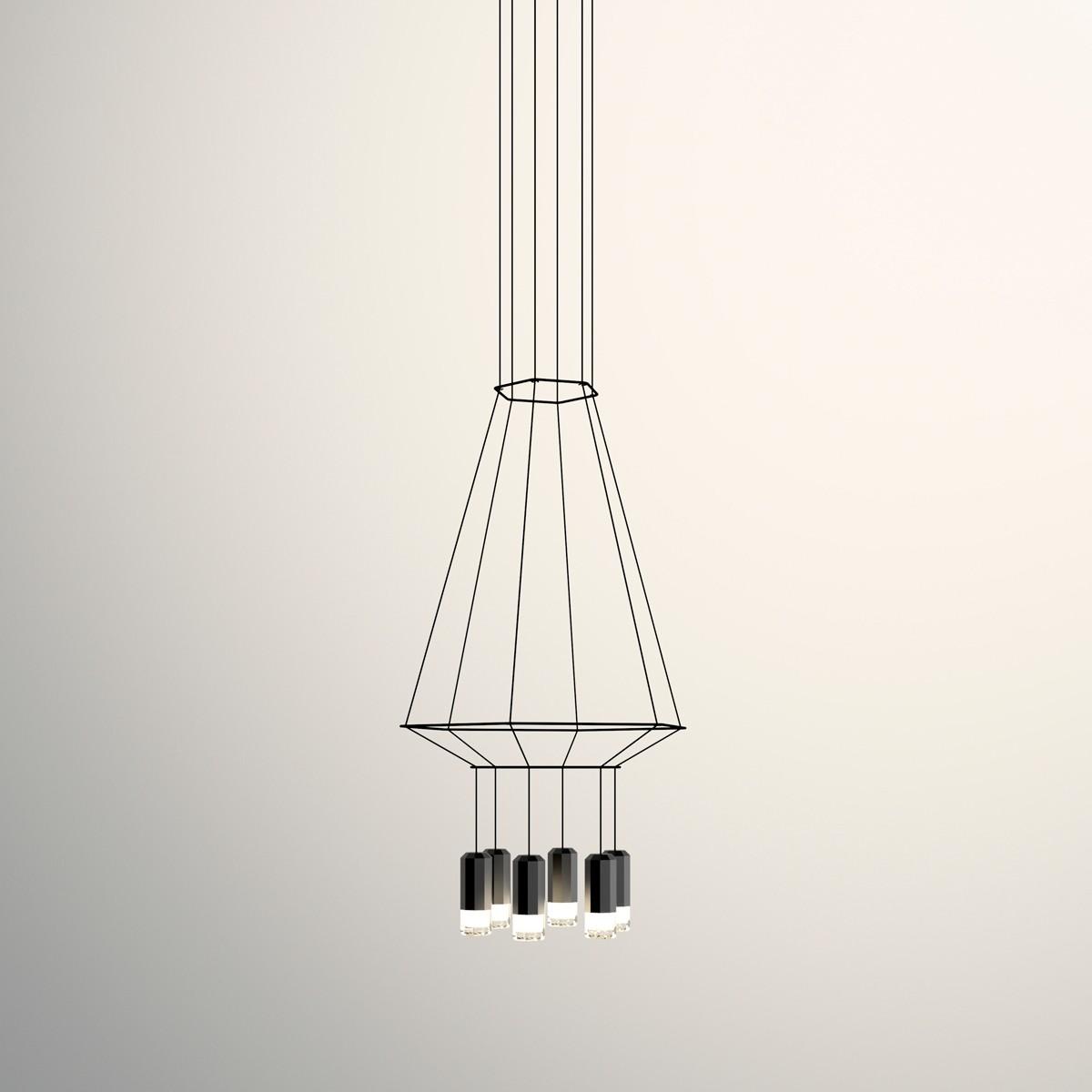 Vibia Wireflow Pendelleuchte, 6-flg., 40 x 46 cm, schwarz
