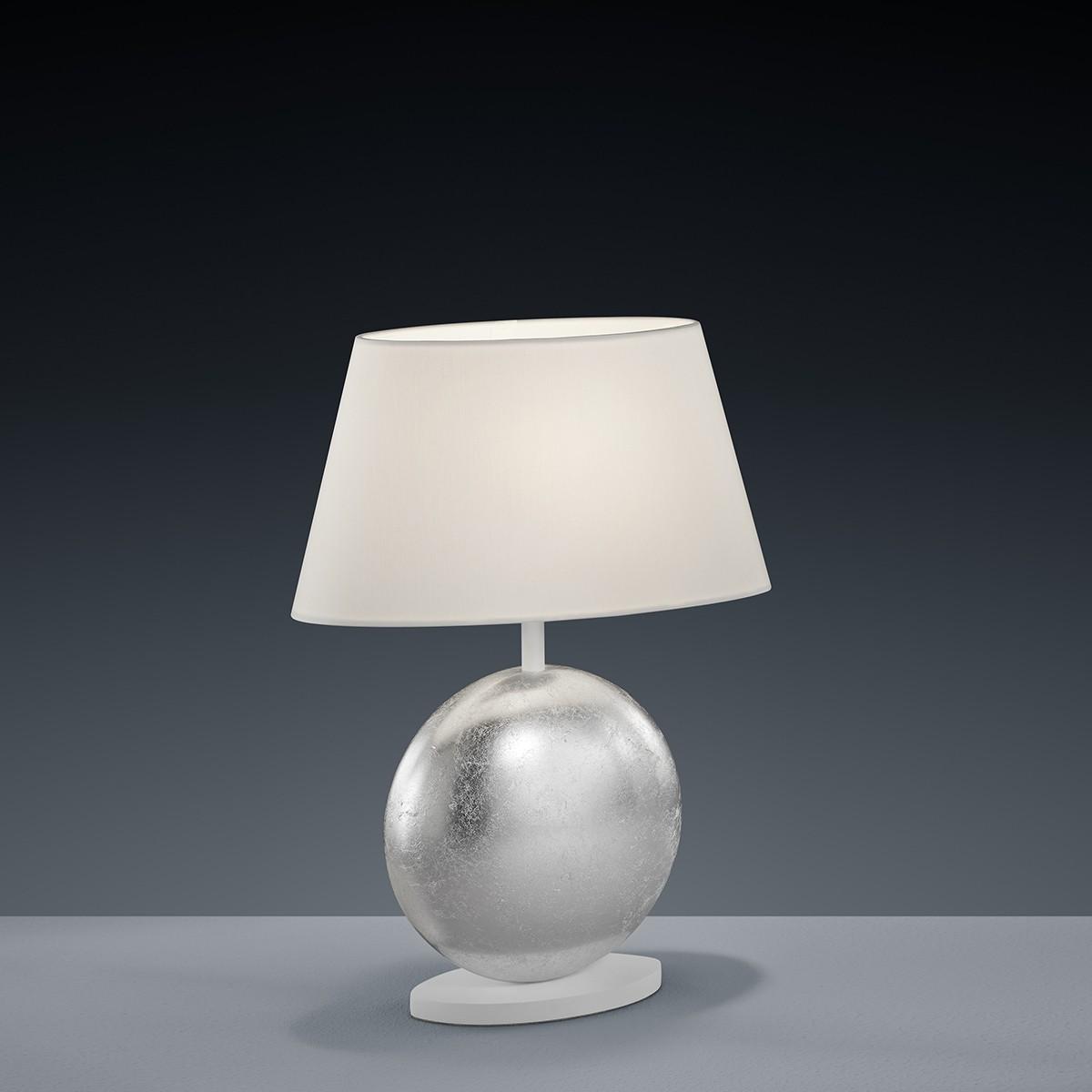 Luce Elevata Mali Tischleuchte 28 x 14 cm, Blattsilberoptik - weiß