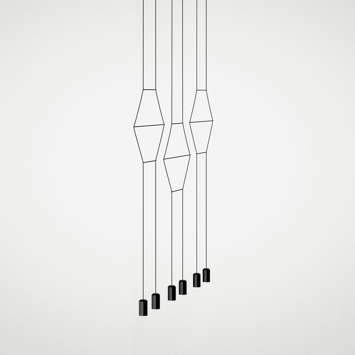 Vibia Wireflow Pendelleuchte, linear, 6-flg., schwarz