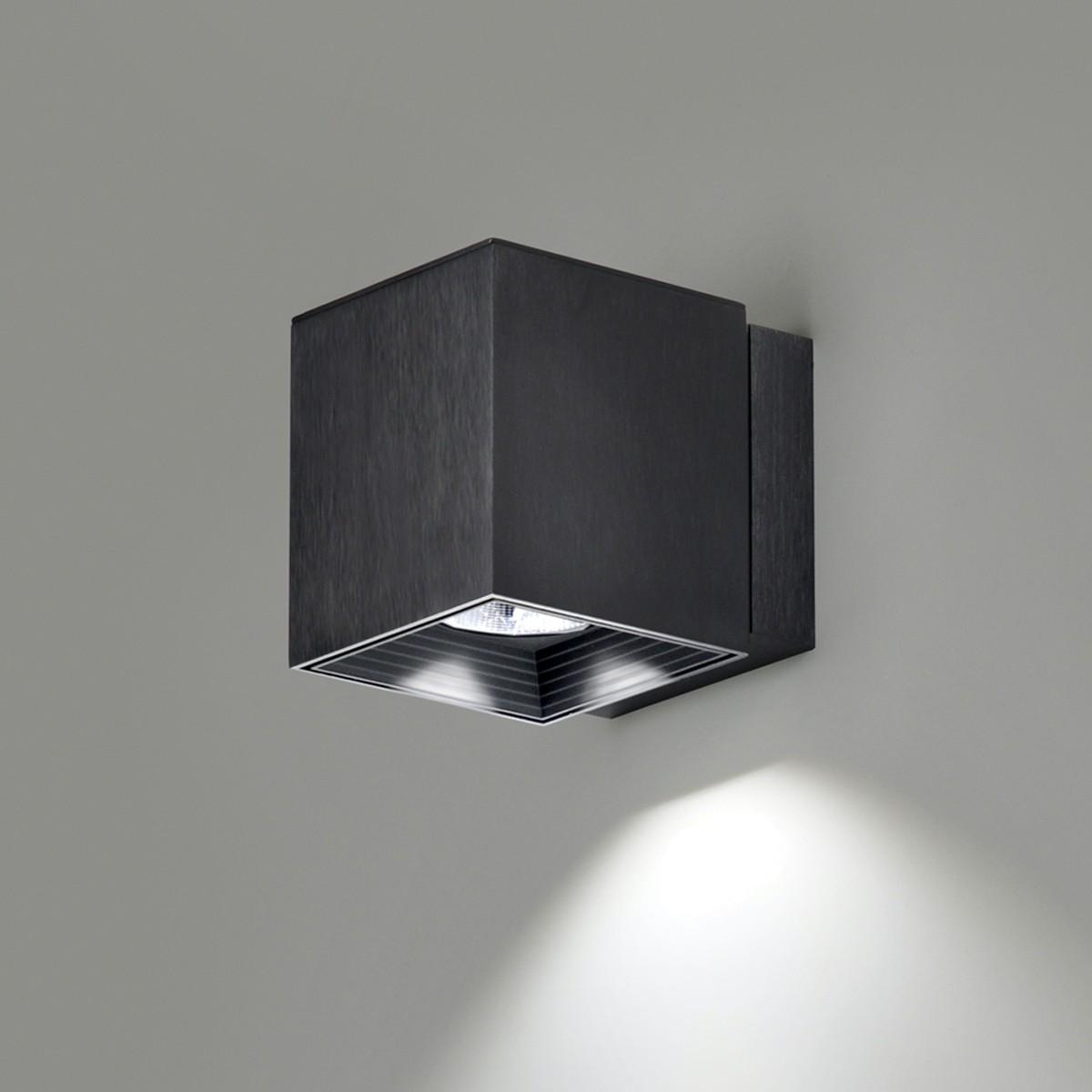 Milan Dau Spot LED Wandleuchte, schwarz gebürstet