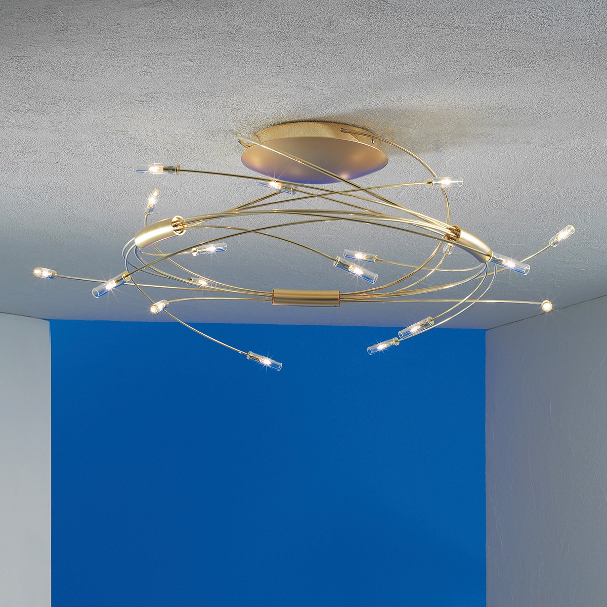 Escale Spin Deckenleuchte, vergoldet, 9-flg.