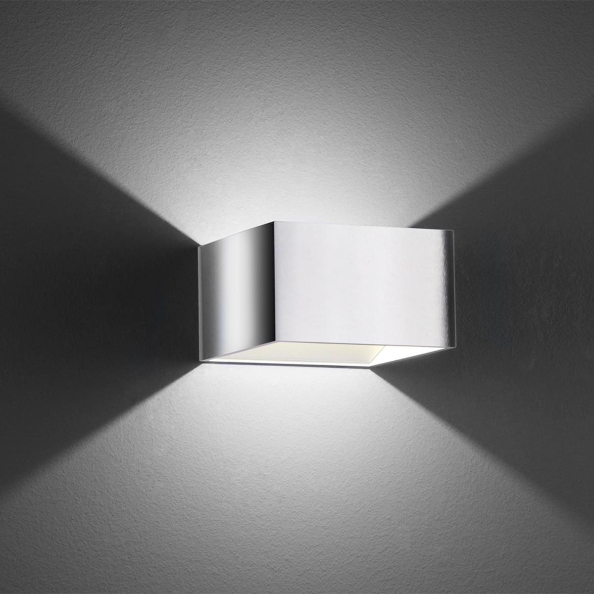 B-Leuchten Cube Wandleuchte, Chrom/Alu poliert