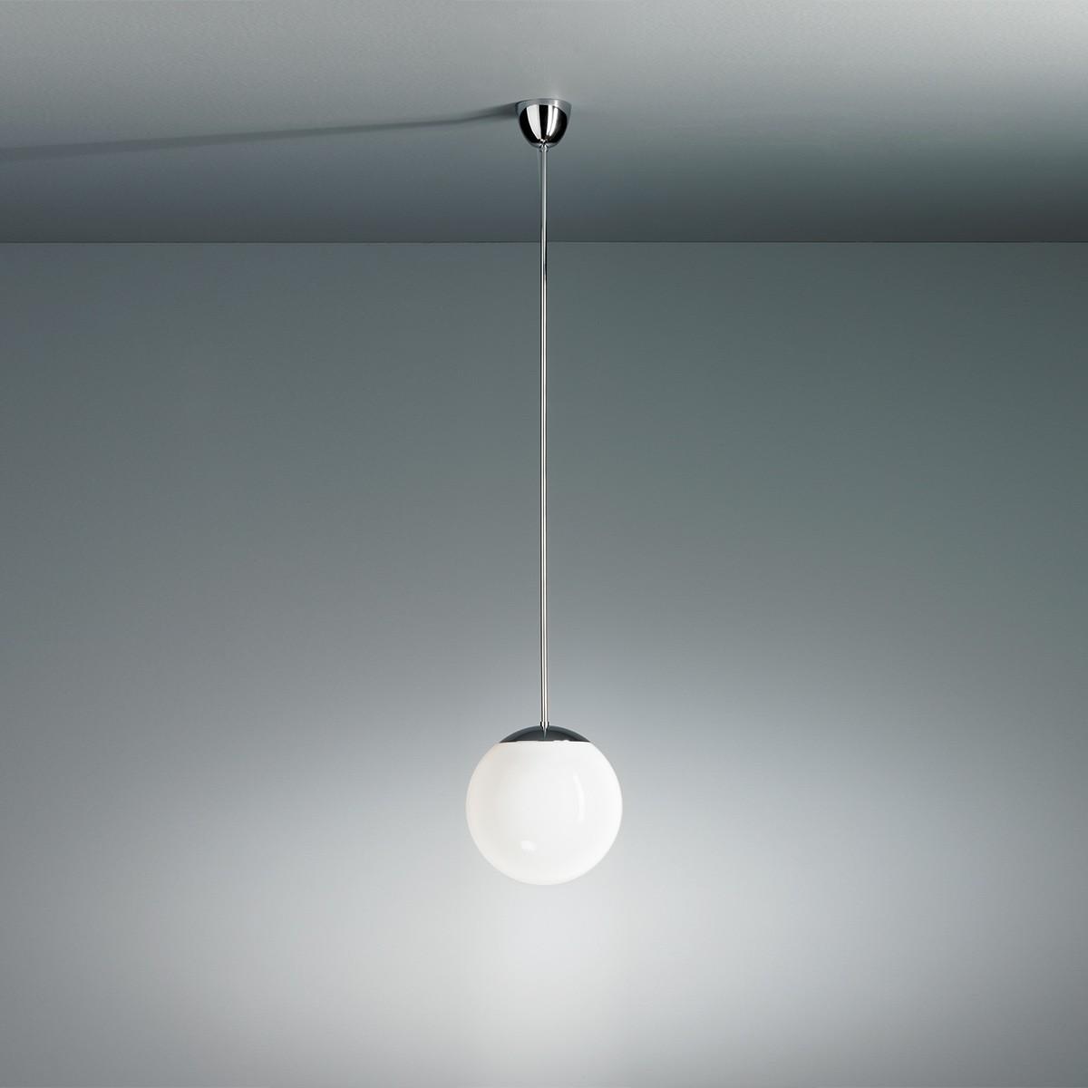 Tecnolumen HL 99 Pendelleuchte mit Opalkugel, Ø: 20 cm, Gestell: Chrom glänzend, Glas: opalüberfangen