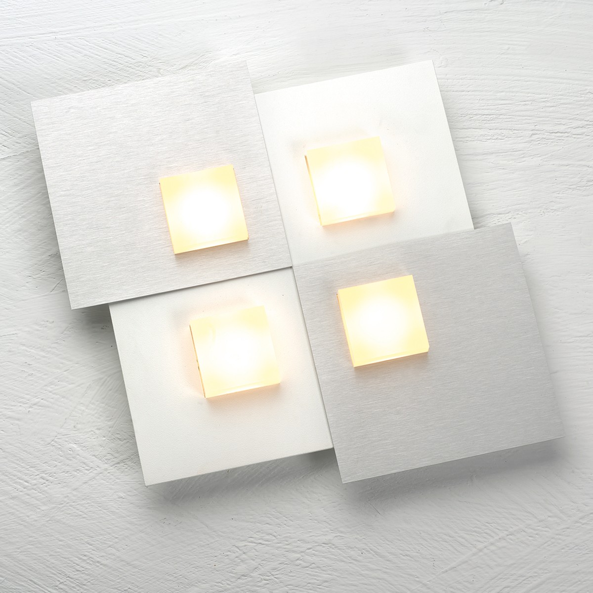 Bopp Pixel 2.0 Deckenleuchte 4-flg., weiß, Dekoplatte: Aluminium