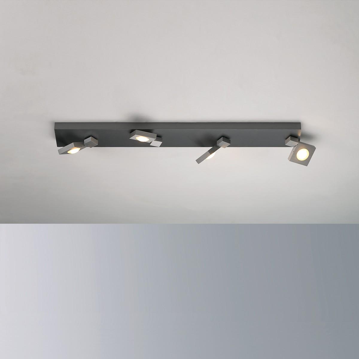 Bopp Flash Deckenleuchte 4-flg., Aluminium geschliffen - anthrazit lackiert
