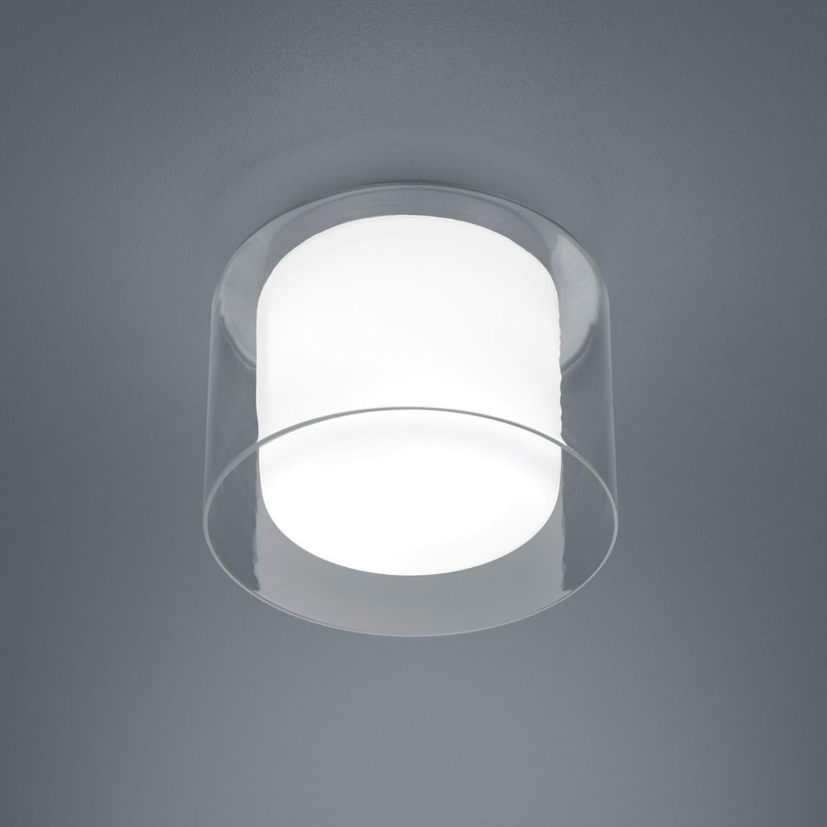 Helestra Olvi Deckenleuchte, Ø: 23 cm, Chrom - Innenglas: Opal weiß / Außenglas: klar