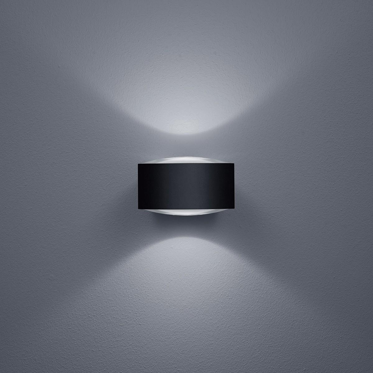 Helestra Flow LED Außenwandleuchte, schwarz matt
