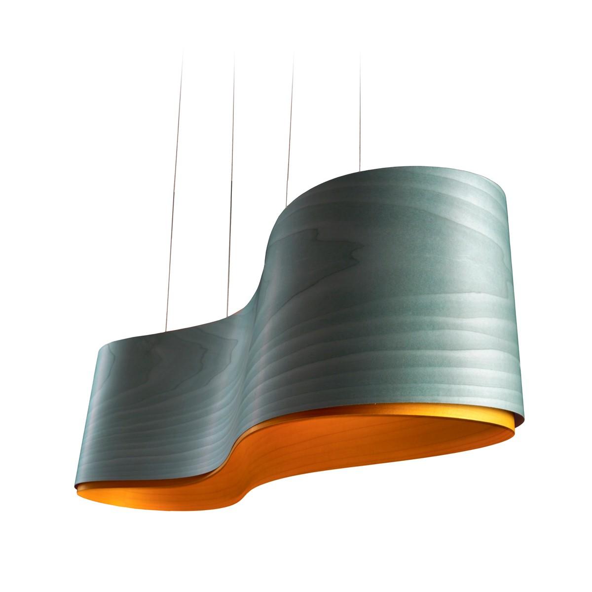 LZF Lamps New Wave Pendelleuchte, türkis, innen: gelb