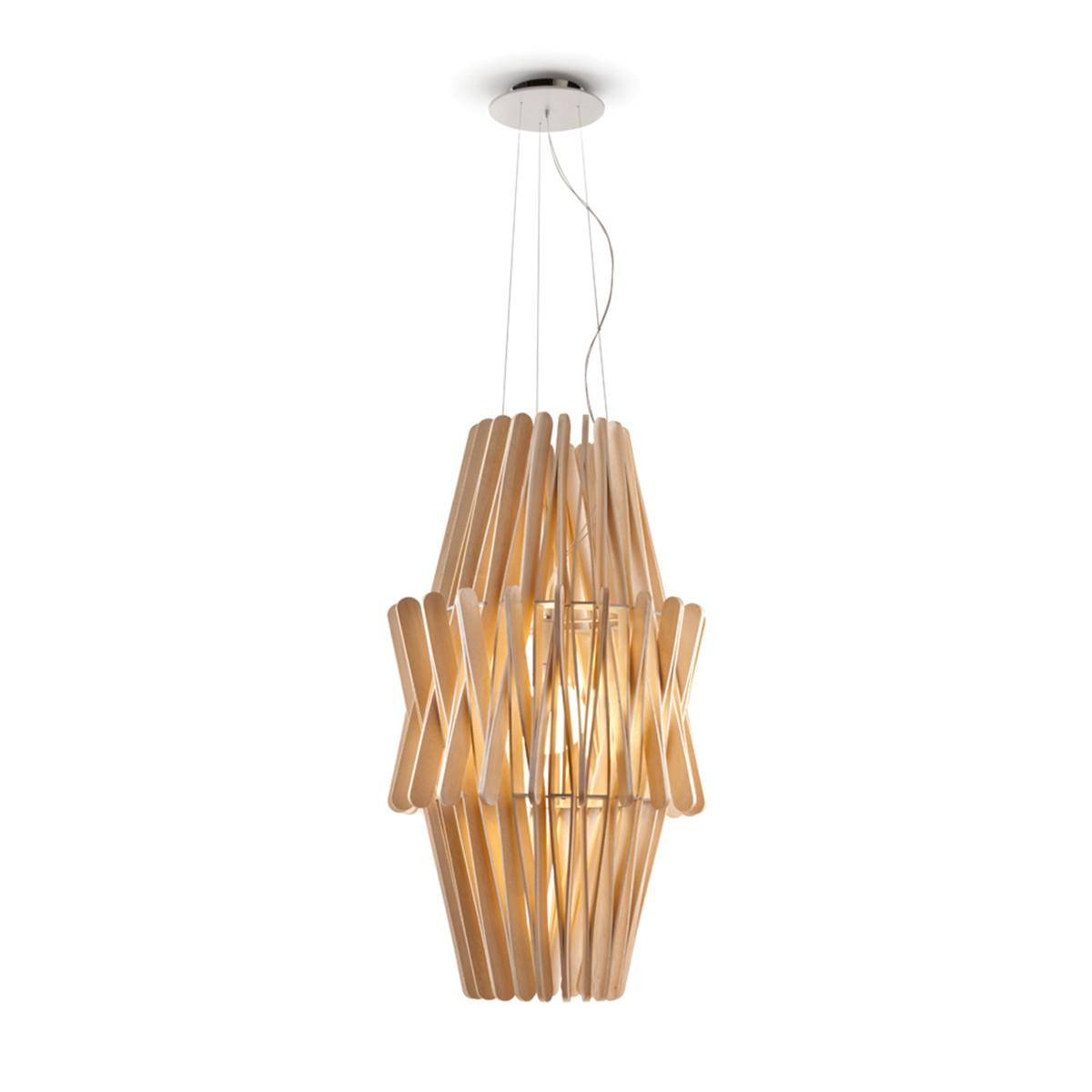 Fabbian Stick Doppio Cono Pendelleuchte LED (E27), Holz
