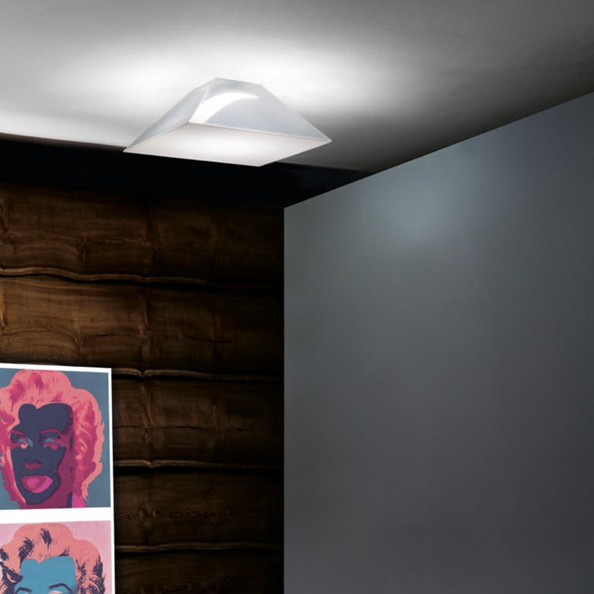 Studio Italia Design Beetle Pyramid Wand- / Deckenleuchte, 30 x 30 cm, weiß / transparent