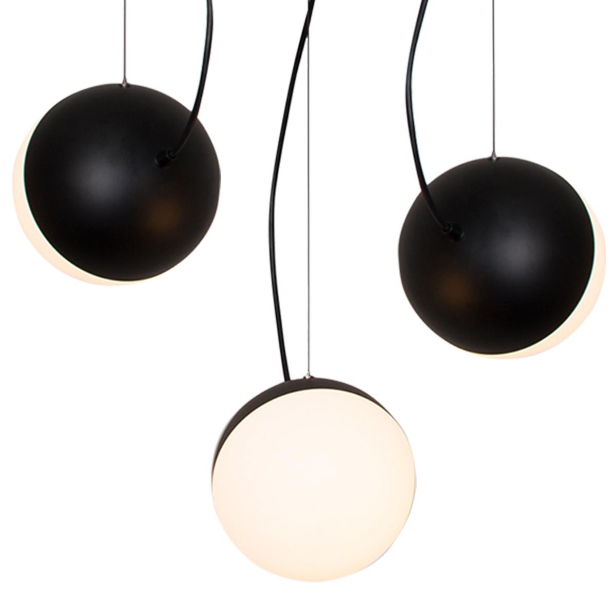 Milan Half Pendelleuchte, Ø 35 cm, 3-flg., schwarz