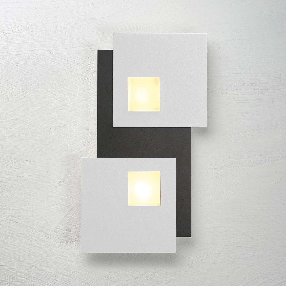 Bopp Pixel 2.0 Deckenleuchte 2-flg., schwarz, Dekoplatte: Aluminium