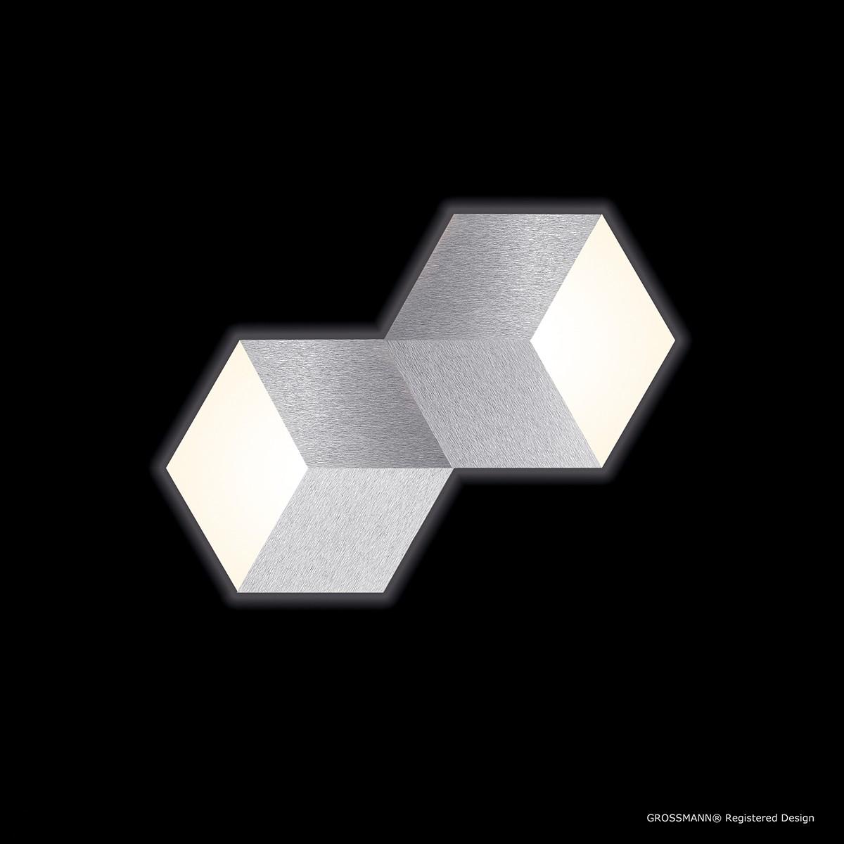 Grossmann Geo LED Wand- / Deckenleuchte, 2-flg., Aluminium gebürstet
