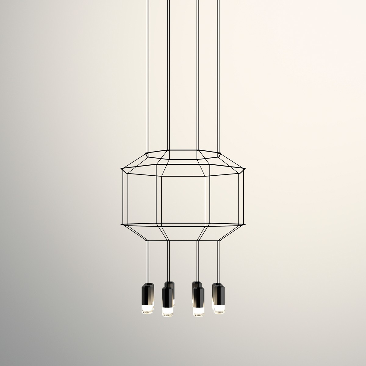 Vibia Wireflow Pendelleuchte, 8-flg., 120 x 120 cm, schwarz