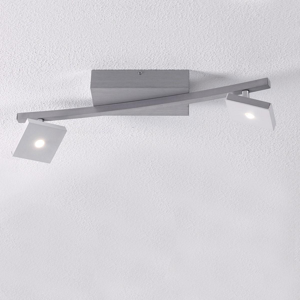 Bopp Domino Deckenleuchte, 2-flg., Aluminium geschliffen - weiß