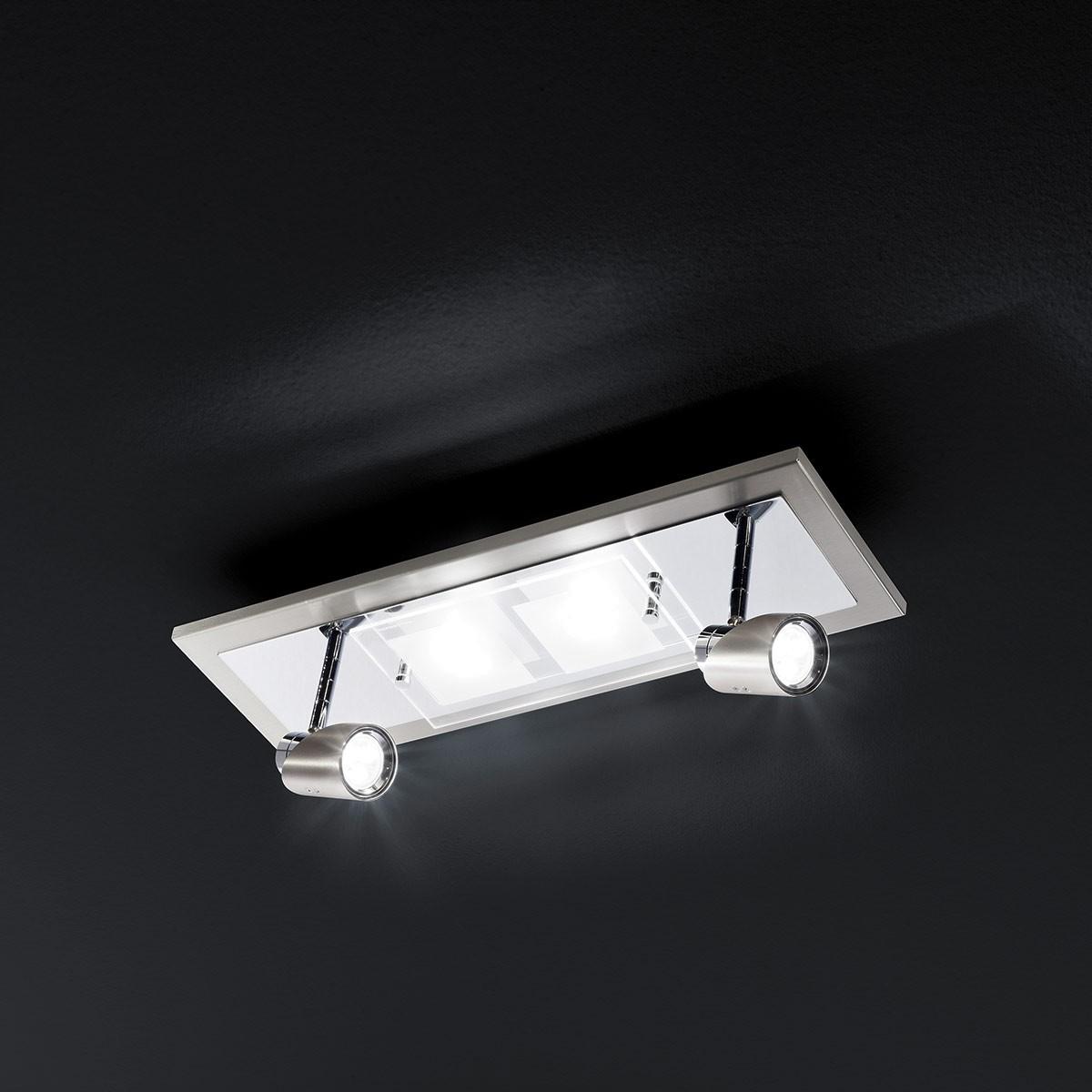 Grossmann Domino LED Wand- / Deckenstrahler, Nickel matt, 16 x 51,5 cm