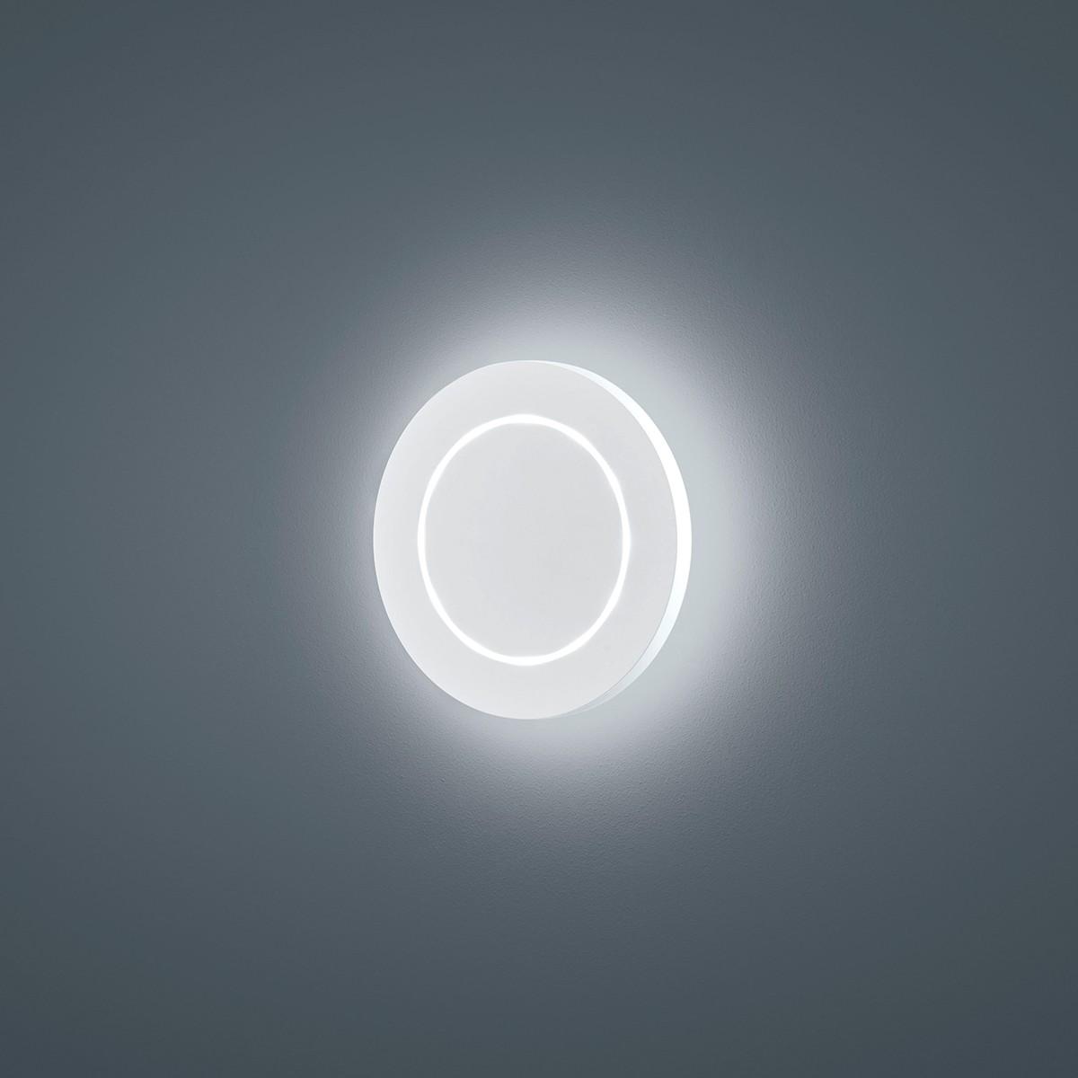 Helestra Fogo LED Außenwandleuchte, rund, weiß matt