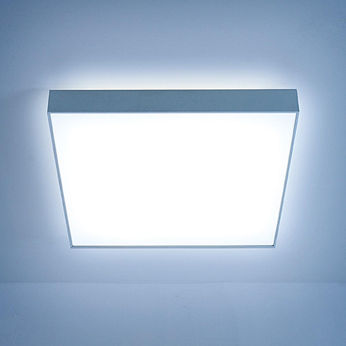 Lightnet Cubic-X2 Deckenleuchte, Mikroprismatik, 33 x 33 cm, Aluminium natureloxiert