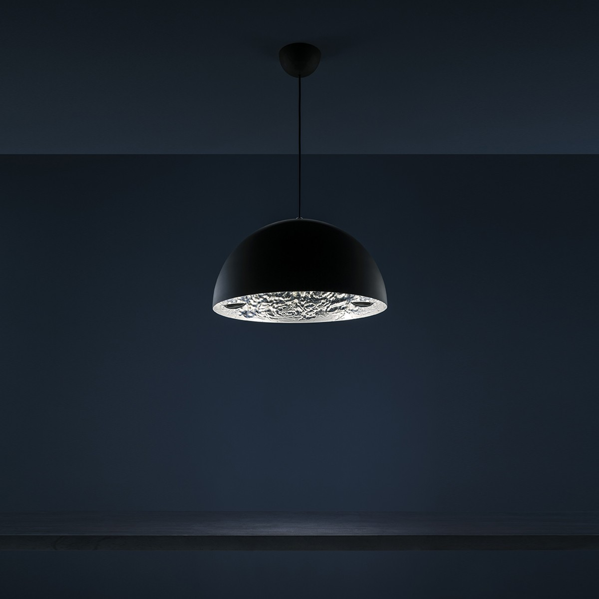 Catellani & Smith Stchu-Moon 02 LED Pendelleuchte, Ø: 40 cm, schwarz / Silber