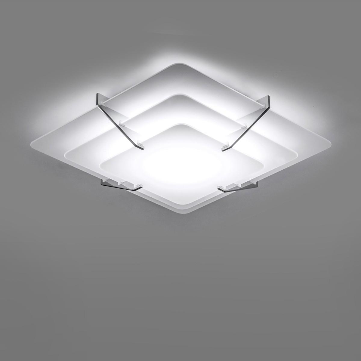 Milan Escala Deckenleuchte, quadratisch, 32 x 32 cm, Glas satiniert