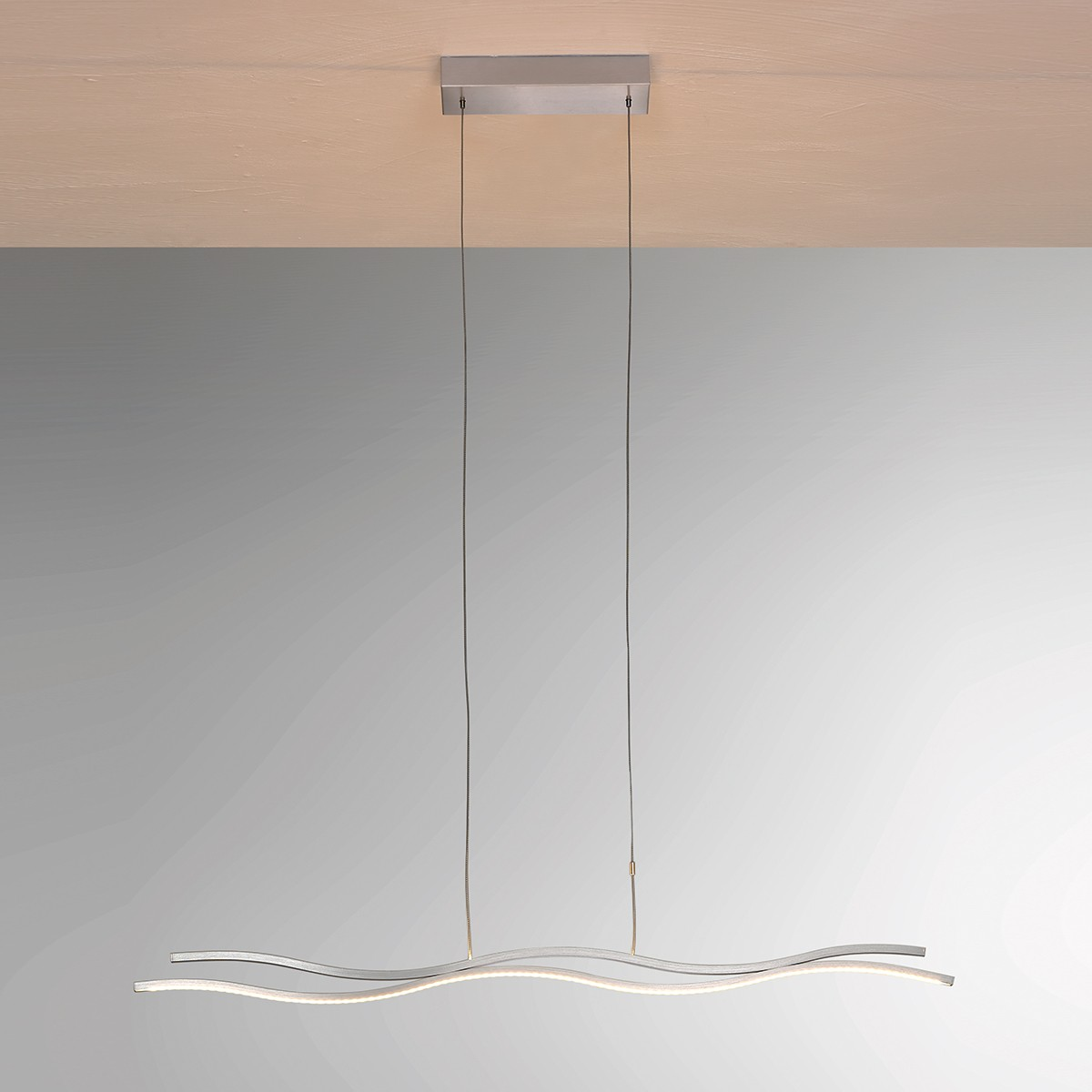 Bopp Soft Pendelleuchte, Aluminium geschliffen, mit Berührungssensor, Länge: 100 cm