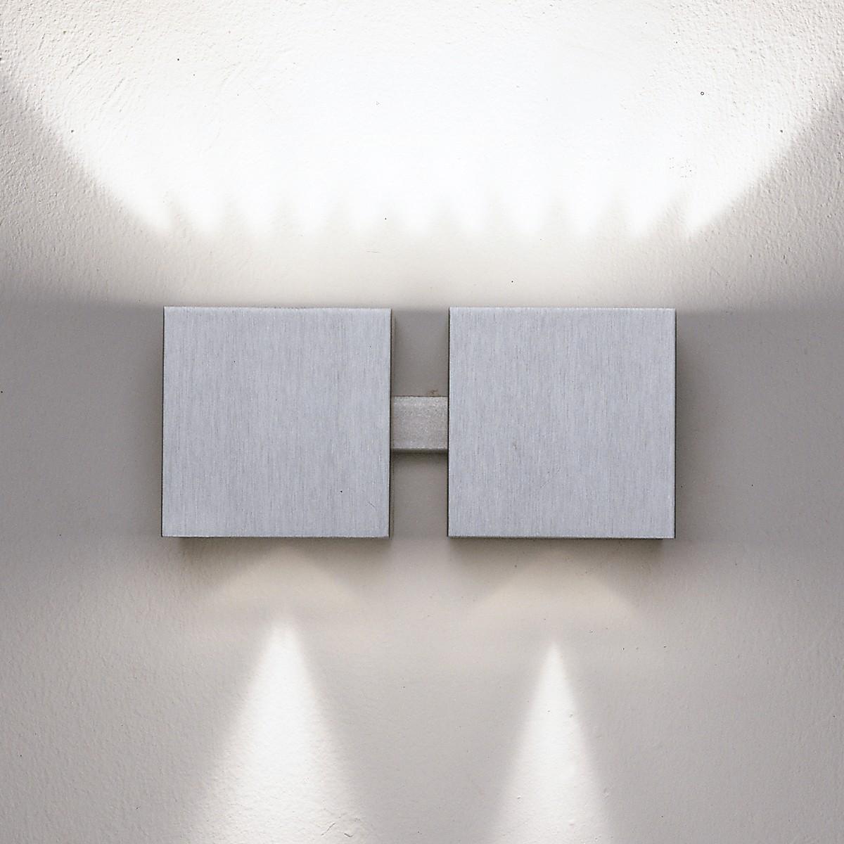 Milan Dau Wandleuchte, 2-flg., Aluminium
