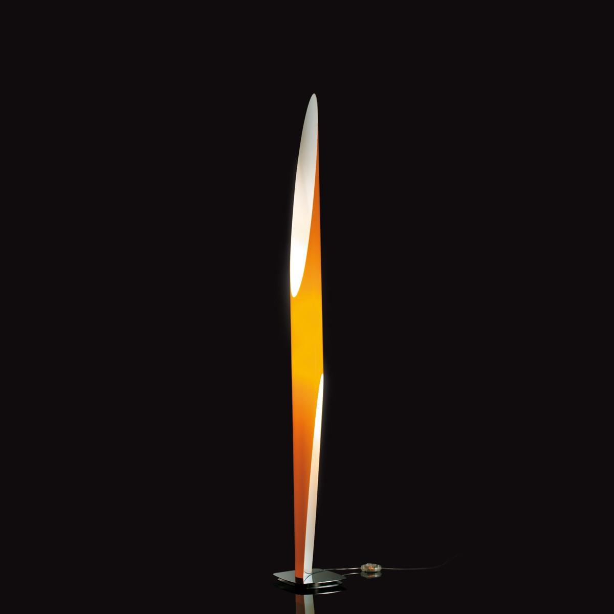 Kundalini Shakti 200 Stehleuchte, orange, Basis: Edelstahl satiniert