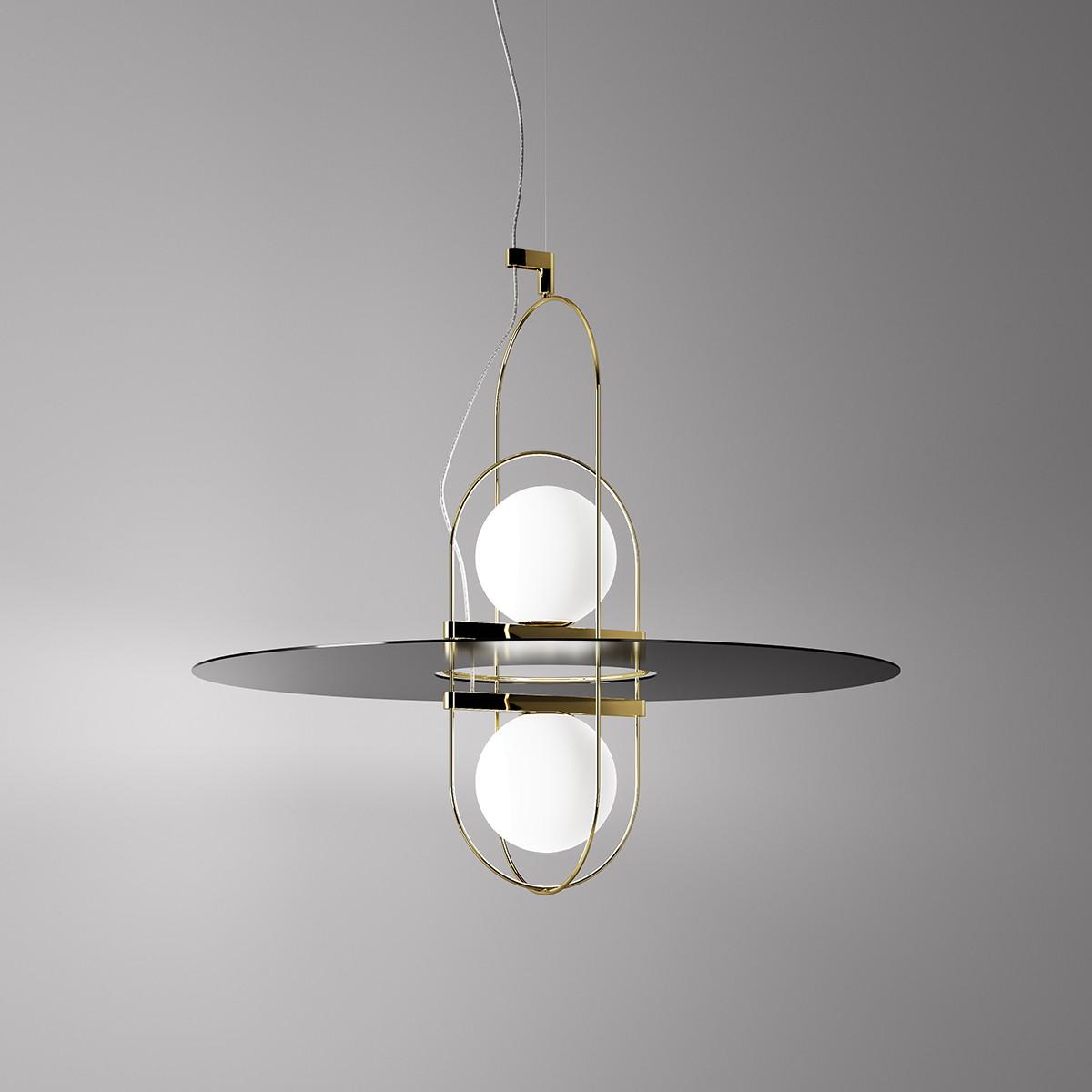 Fontana Arte Setareh 2 LED Pendelleuchte, 2-flg., Gold / schwarz