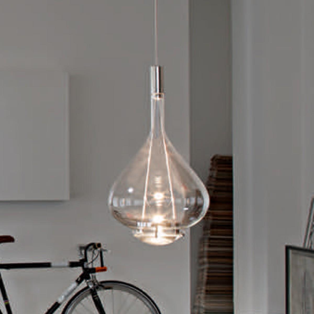 Studio Italia Design Sky-Fall Medium Pendelleuchte, Chrom / Kristallglas