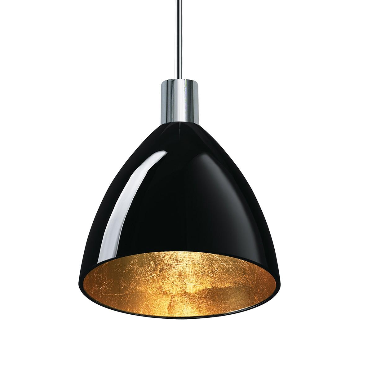 Bruck Duolare Silva Neo Ø: 16 cm Fassung: Chrom LED Pendelleuchte, Glas: schwarz - Gold