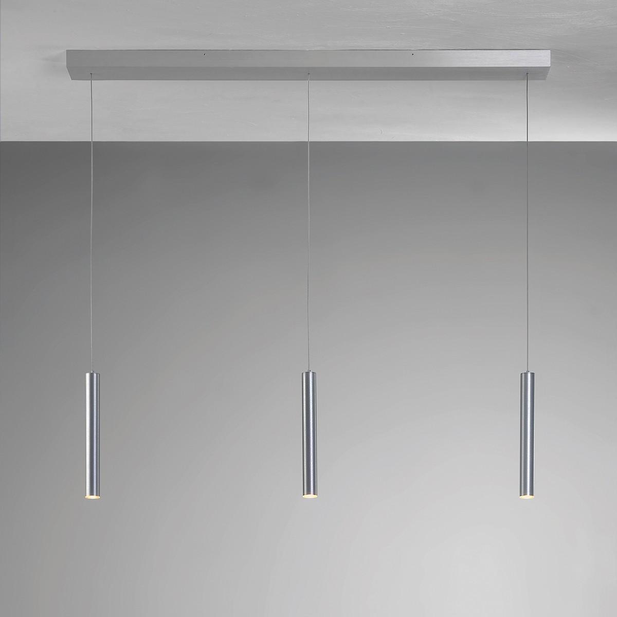Bopp Plus Pendelleuchte, 3-flg., mit Casambi Modul, Aluminium geschliffen