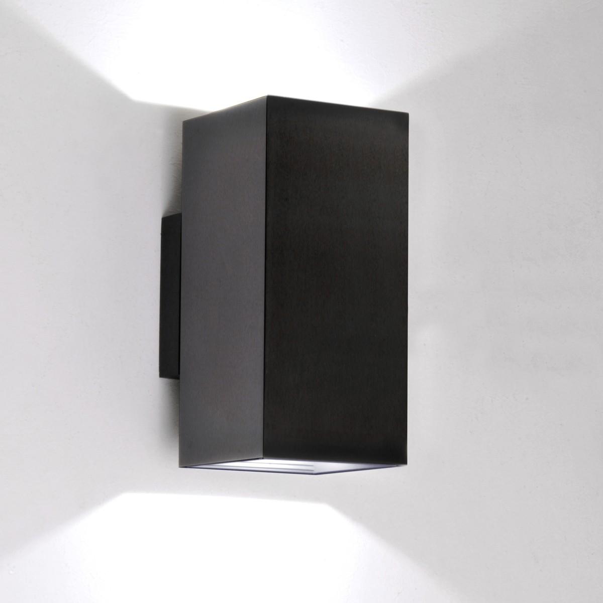 Milan Dau Doble LED Wandleuchte, schwarz gebürstet